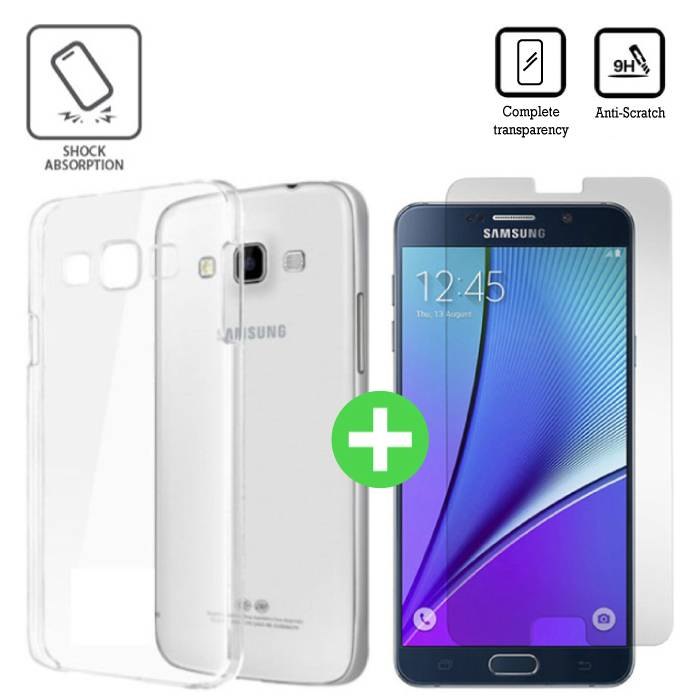 Samsung Galaxy A9 2016 Transparent TPU Case + Screen Protector Tempered Glass