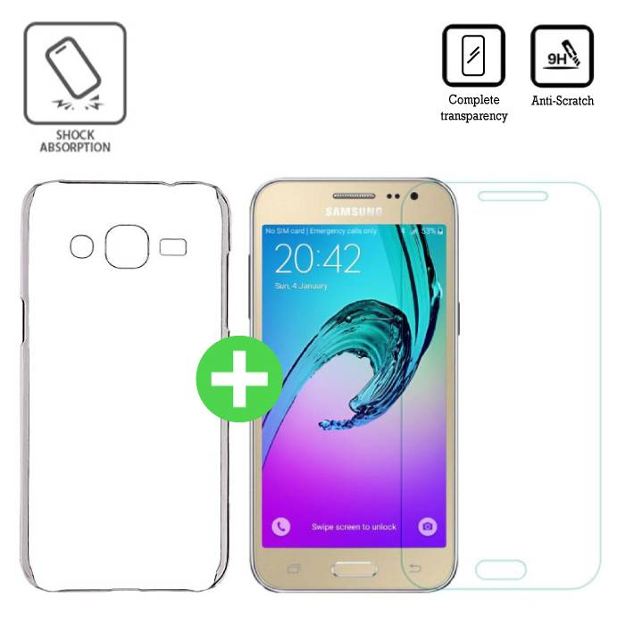 Samsung Galaxy J2/J200F/J200G Transparant TPU Hoesje + Screen Protector Tempered Glass