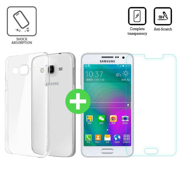 Samsung Galaxy J5 Prime 2016 Transparant TPU Hoesje + Screen Protector Tempered Glass