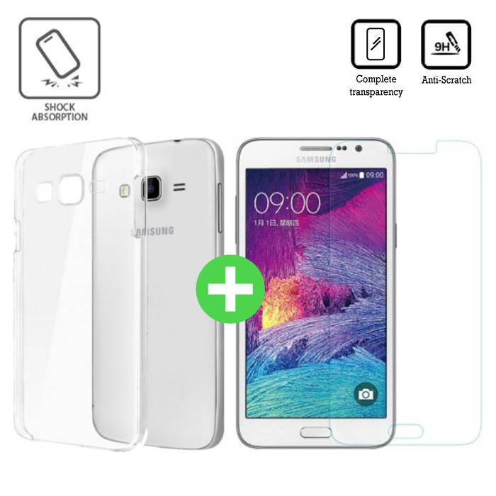 Samsung Galaxy J7 Prime 2016 Transparant TPU Hoesje + Screen Protector Tempered Glass