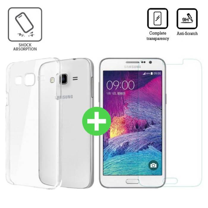 Samsung Galaxy Prime J7 2016 Transparent TPU Case + Screen Protector Tempered Glass