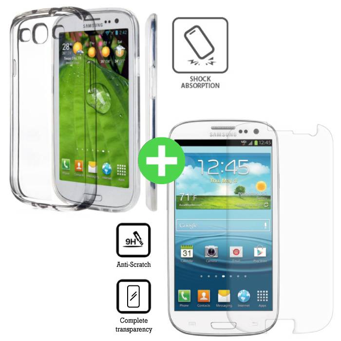 Samsung Galaxy S3 Transparant TPU Hoesje + Screen Protector Tempered Glass