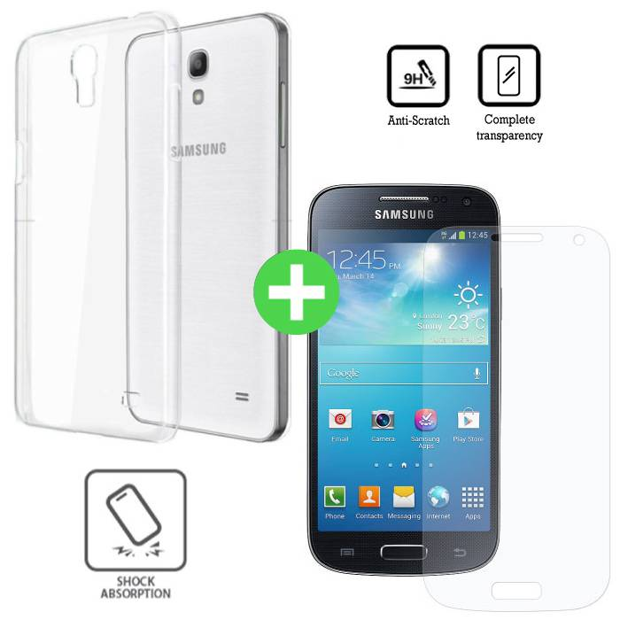 Samsung Galaxy S4 Transparant TPU Hoesje + Screen Protector Tempered Glass