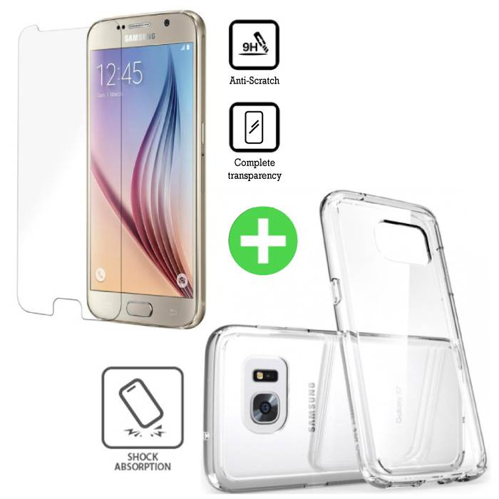 iPhone 6 Transparent TPU Case + Screen Protector Tempered Glass