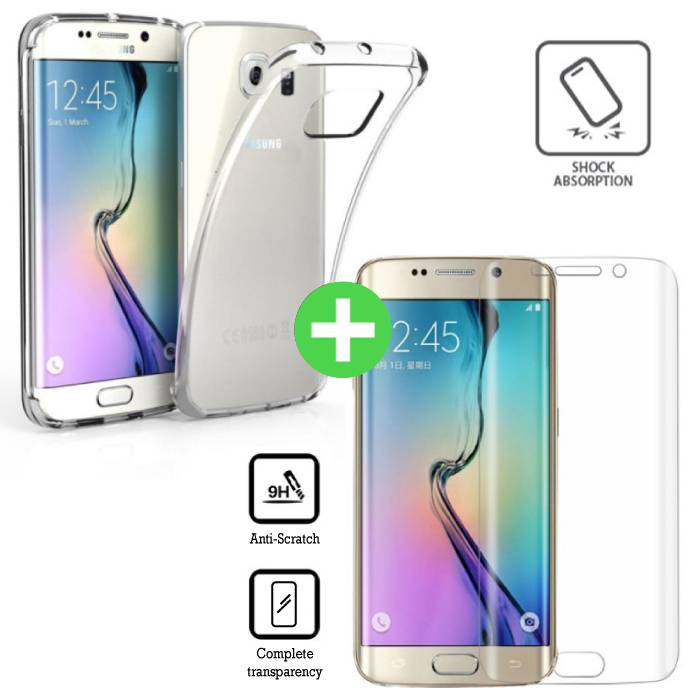 Samsung Galaxy S6 Edge Transparant TPU Hoesje + Screen Protector Tempered Glass