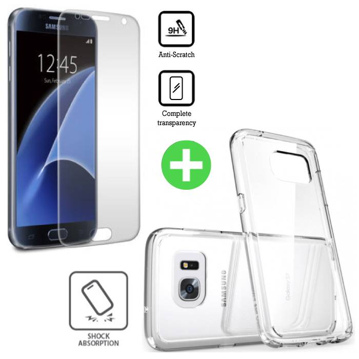 Stuff Certified® Samsung Galaxy S7 Transparant TPU Hoesje + Screen Protector Tempered Glass