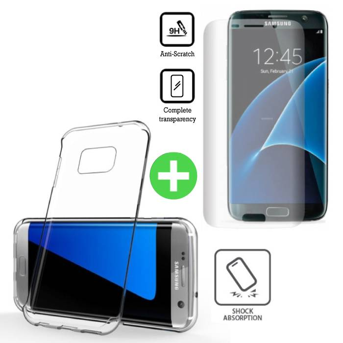 Samsung Galaxy S7 Edge Transparant TPU Hoesje + Screen Protector Tempered Glass