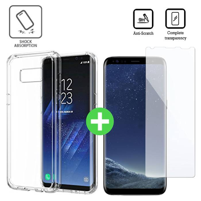 Samsung Galaxy S8 Transparent TPU Case + Screen Protector Tempered Glass