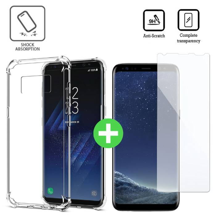 Samsung Galaxy S8 Plus Transparant TPU Hoesje + Screen Protector Tempered Glass