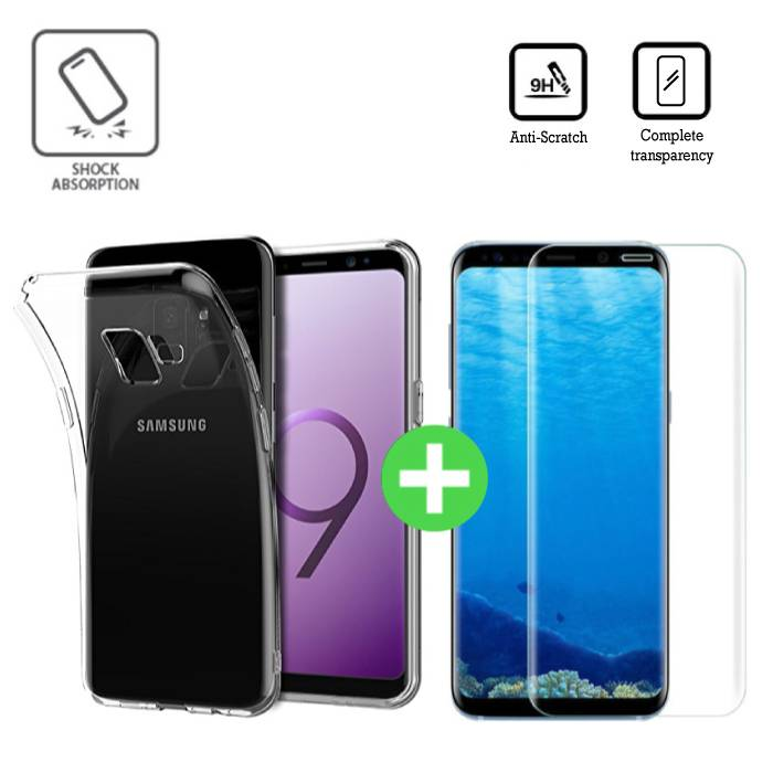Samsung Galaxy S9 Plus Clear TPU Case + Screen Protector Tempered Glass