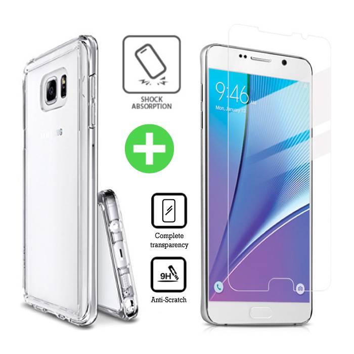 Samsung Galaxy Note 5 cas TPU transparent + écran protecteur en verre trempé