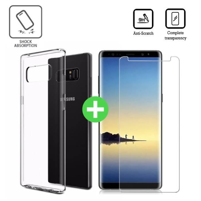 Samsung Galaxy Note 8 cas TPU transparent + écran protecteur en verre trempé