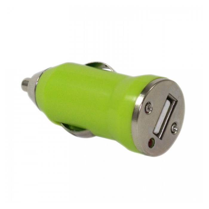 iPhone / iPad / iPod AAA + USB Car Charger 5V - 1A - Fast charging - Green