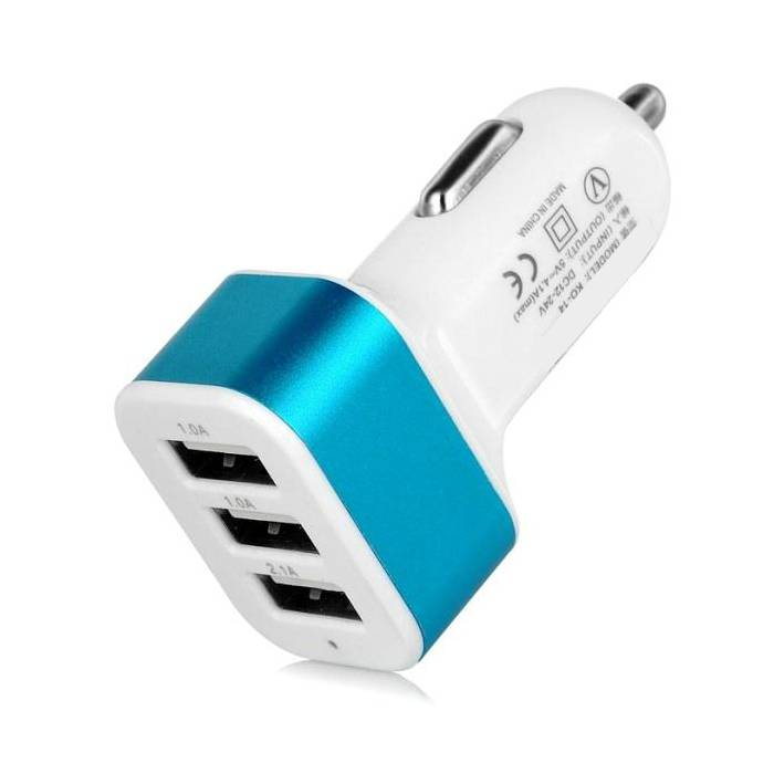 Stuff Certified® High Speed 3-Port Autolader/Carcharger 5V - 4.1A - Blauw