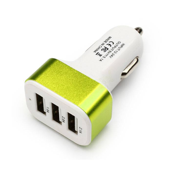 High Speed ??3-Port Charger / Carcharger 5V - 4.1A - Green
