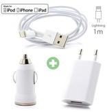 Stuff Certified® 3 en 1 iPhone Chargeur USB de foudre Cable + Socket Chargeur + Chargeur allume-cigare