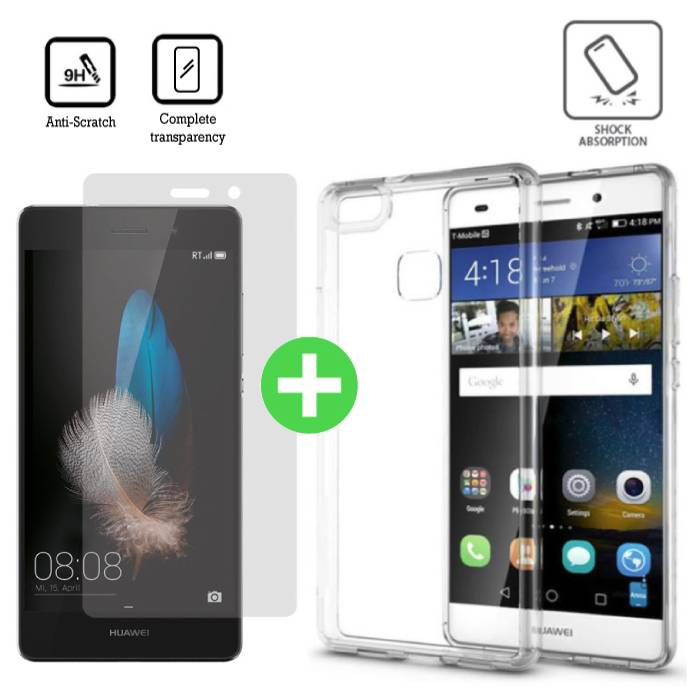 Huawei P9 Lite Transparent TPU Case + Screen Protector Tempered Glass