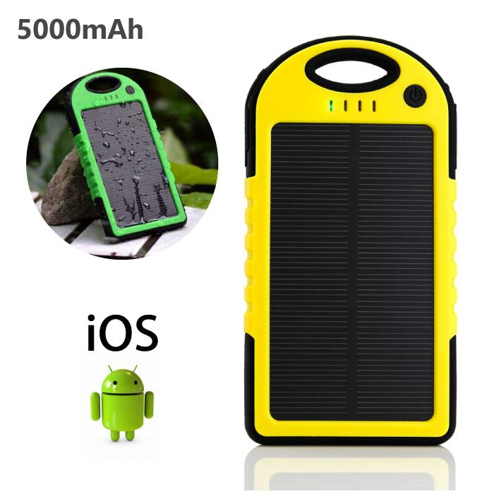 External 5000mAh Solar Charger Power Bank Emergency Solar Battery Charger Yellow