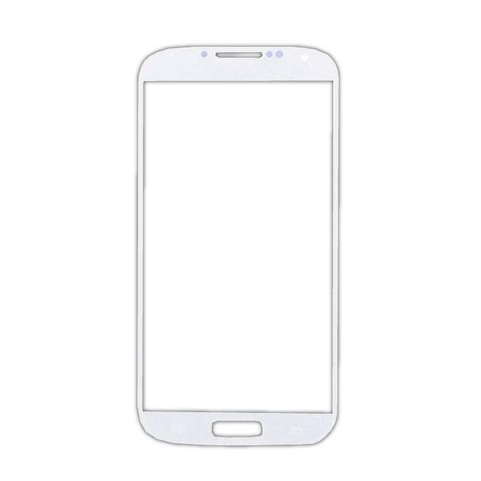 Plaque de verre avant en verre avant pour Samsung Galaxy S4 i9500 Qualité AAA + - Blanc