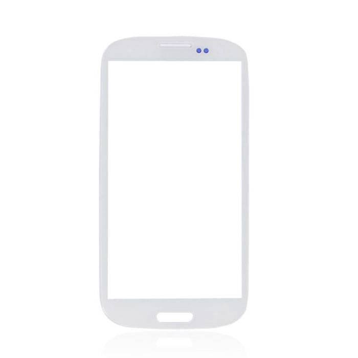 Plaque de verre avant en verre avant pour Samsung Galaxy S3 i9300 Qualité AAA + - Blanc