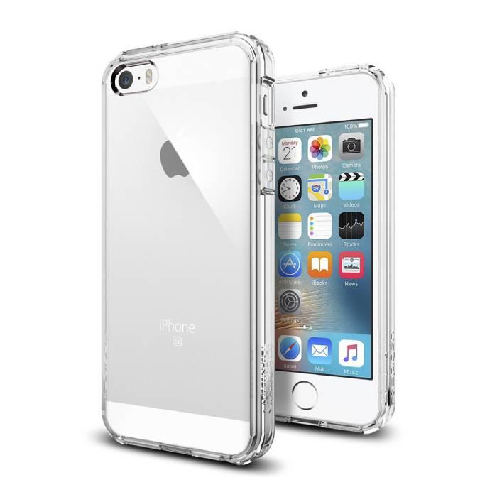 Étui rigide transparent transparent pour iPhone 5S