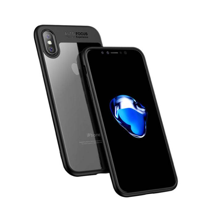 iPhone X - Mise au point automatique Armure de couverture de cas Cas Silicone TPU Case Black