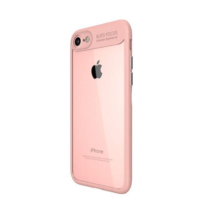 iPhone Plus 8 - Mise au point automatique Armure de couverture de cas Cas Silicone TPU Rose