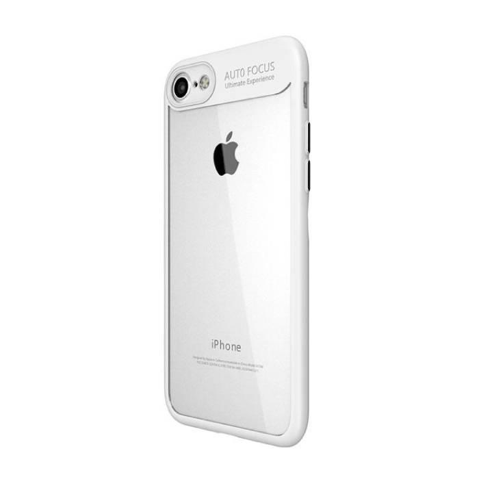 iPhone Plus 8 - Mise au point automatique Armure de couverture de cas Cas TPU Silicone Blanc