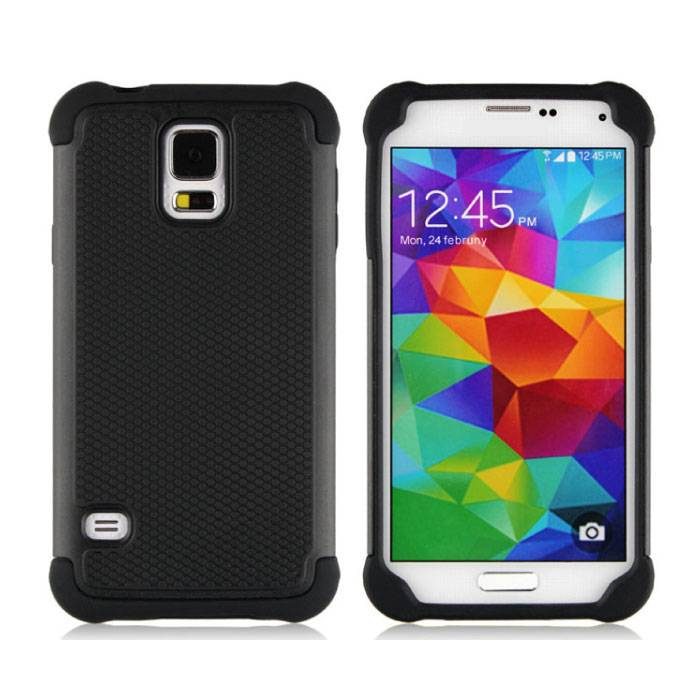Pour Samsung Galaxy S5 - Armure hybride de couverture de cas Cas Silicone TPU Case Black
