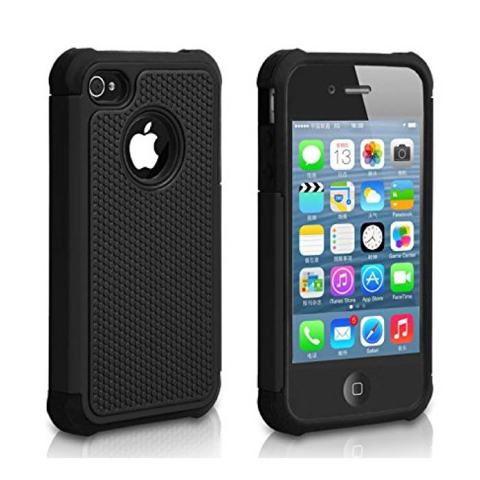 For Apple iPhone 4S - Hybrid Armor Case Cover Cas Silicone TPU Case Black