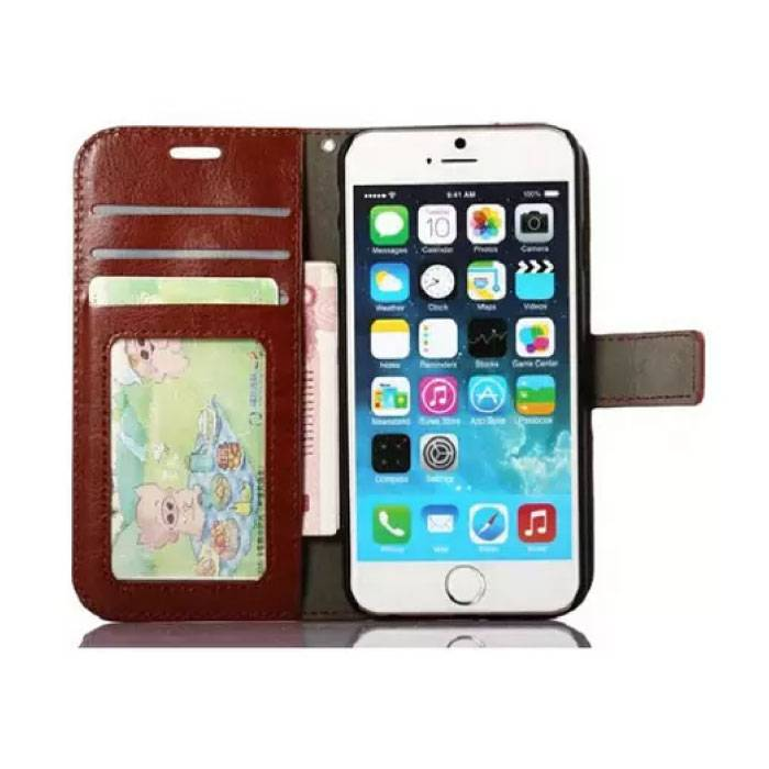 iPhone 7 - Leather Wallet Flip Case Cover Cas Case Wallet Brown