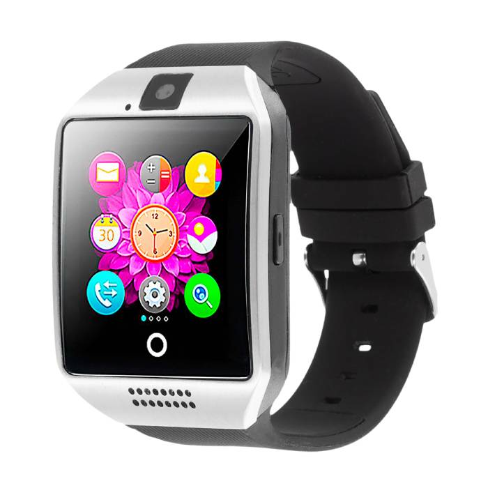 Q18 courbe SmartWatch originale HD Smartphone Fitness Sports Tracker activité Regarder OLED iOS iPhone Android Samsung Huawei Argent