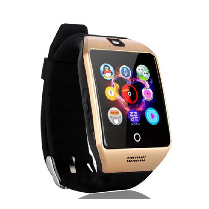 Originele Q18 Smartwatch Curved HD Smartphone Fitness Sport Activity Tracker Horloge OLED Android iOS iPhone Samsung Huawei Goud