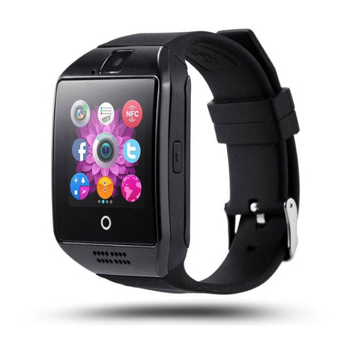 Q18 courbe SmartWatch originale HD Smartphone Fitness Sports Tracker activité Regarder OLED iOS iPhone Android Samsung Huawei Noir