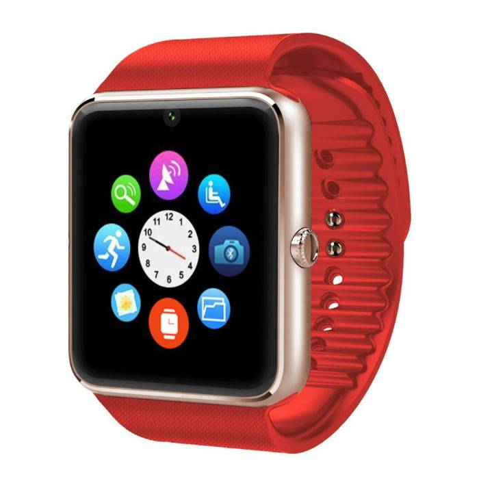 Originele GT08 Smartwatch Smartphone Fitness Sport Activity Tracker Horloge OLED Android iOS iPhone Samsung Huawei Rood