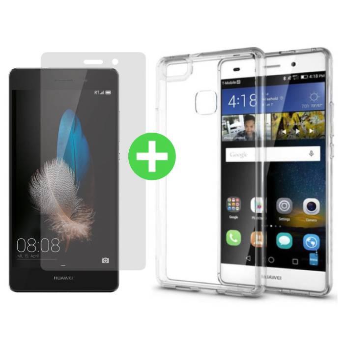 Huawei Lite transparent TPU P8 cas + écran protecteur en verre trempé