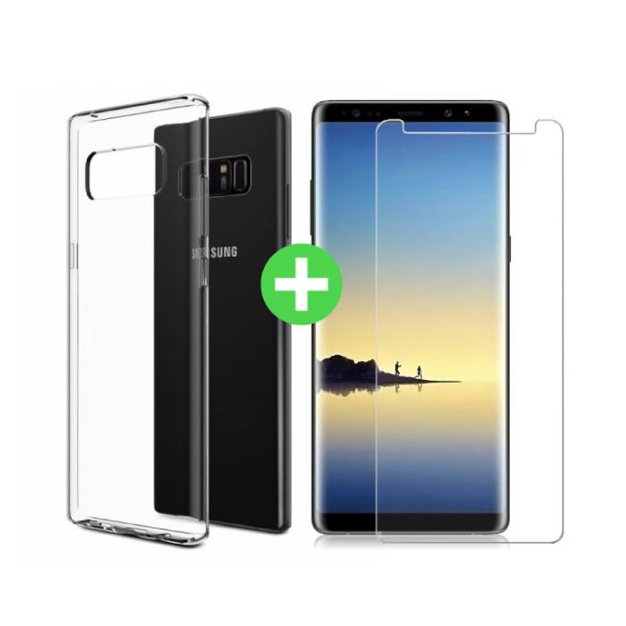 Samsung Galaxy Note 8 Transparentes TPU-Gehäuse + Displayschutzfolie aus gehärtetem Glas