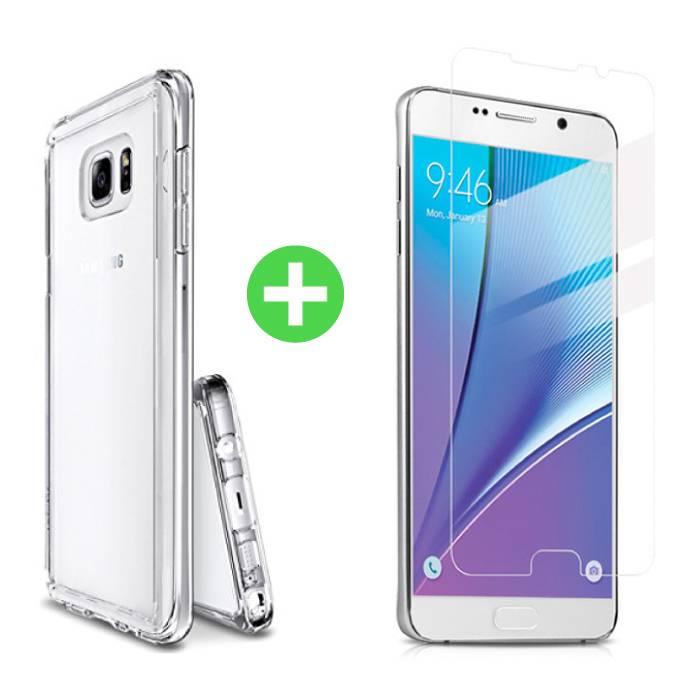 Samsung Galaxy Note 5 Transparentes TPU-Gehäuse + Displayschutzfolie aus gehärtetem Glas