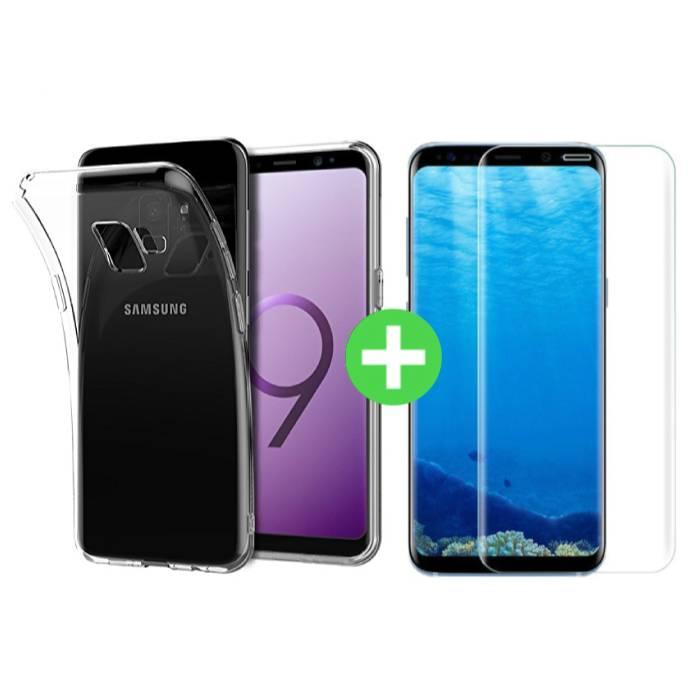 Coque en TPU transparente Samsung Galaxy S9 + Protecteur d'écran en verre trempé
