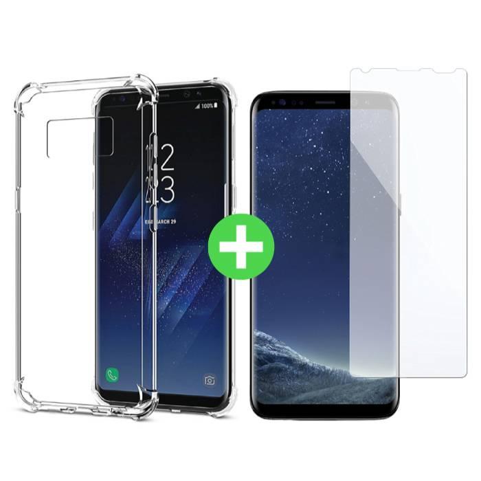 Samsung Galaxy S8 Plus Transparentes TPU-Gehäuse + Displayschutzfolie aus gehärtetem Glas