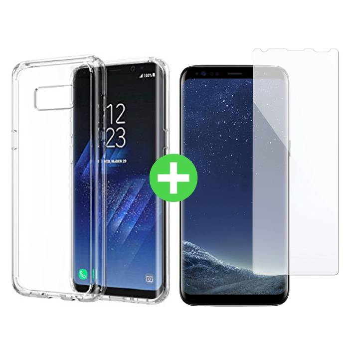 Samsung Galaxy S8 transparent TPU + écran protecteur en verre trempé