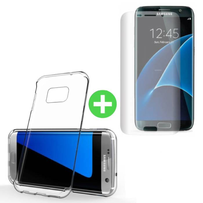 Samsung Galaxy S7 Edge Transparent TPU Case + Screen Protector Tempered Glass