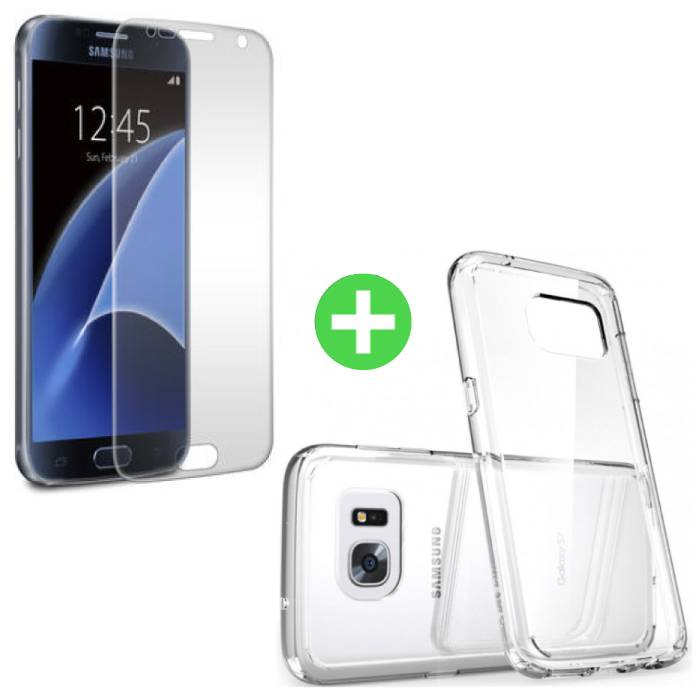 Samsung Galaxy S7 Transparant TPU Hoesje + Screen Protector Tempered Glass
