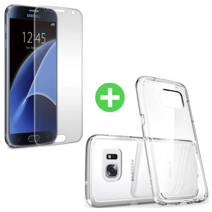 Samsung Galaxy S7 Transparentes TPU-Gehäuse + Displayschutzfolie aus gehärtetem Glas