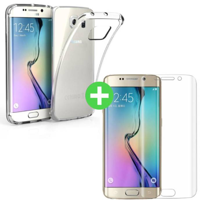 Samsung Galaxy S6 Edge Transparent TPU Case + Screen Protector Tempered Glass