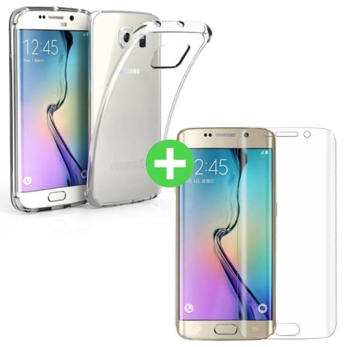 Samsung Galaxy S6 Edge Transparentes TPU-Gehäuse + Displayschutzfolie aus gehärtetem Glas