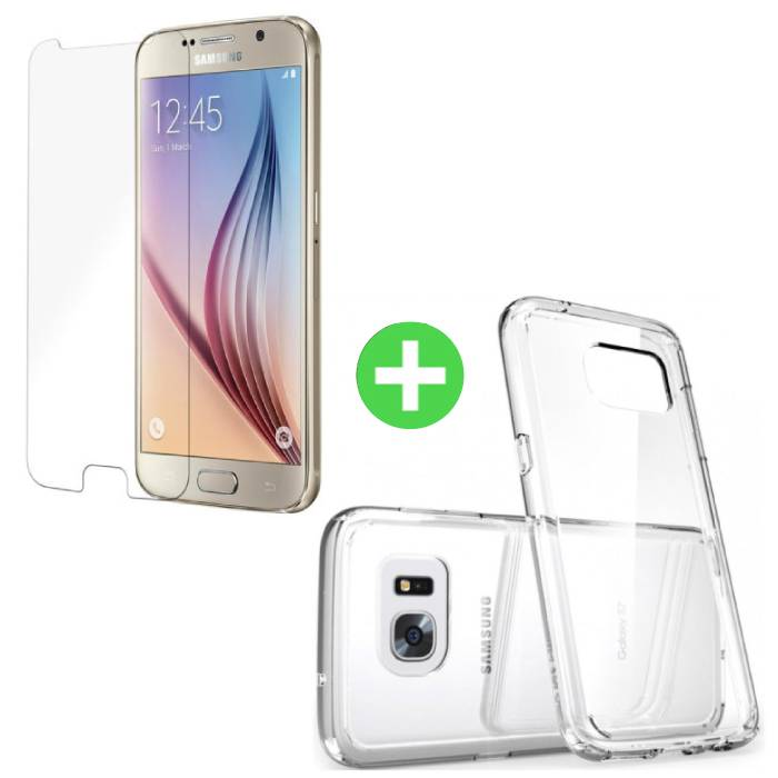 Samsung Galaxy S6 Transparant TPU Hoesje + Screen Protector Tempered Glass
