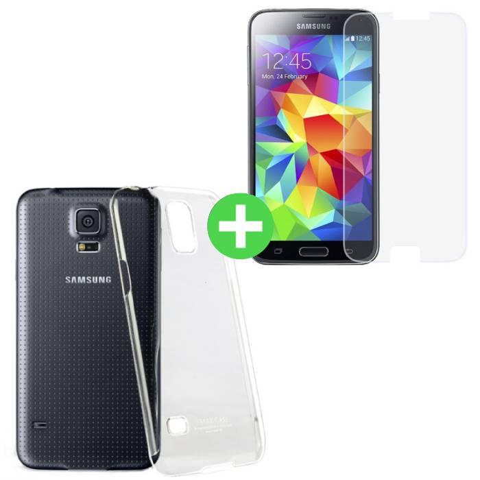 Samsung Galaxy S5 Transparentes TPU-Gehäuse + Displayschutzfolie aus gehärtetem Glas