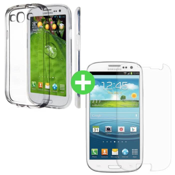 Samsung Galaxy S3 transparent TPU + écran protecteur en verre trempé