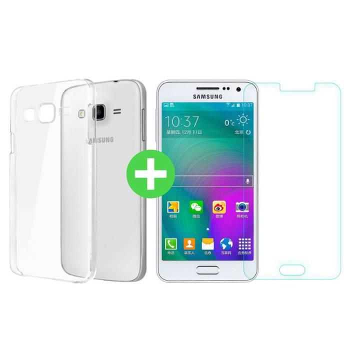 Samsung Galaxy J5 Prime 2016 Transparentes TPU-Gehäuse + Displayschutzfolie aus gehärtetem Glas